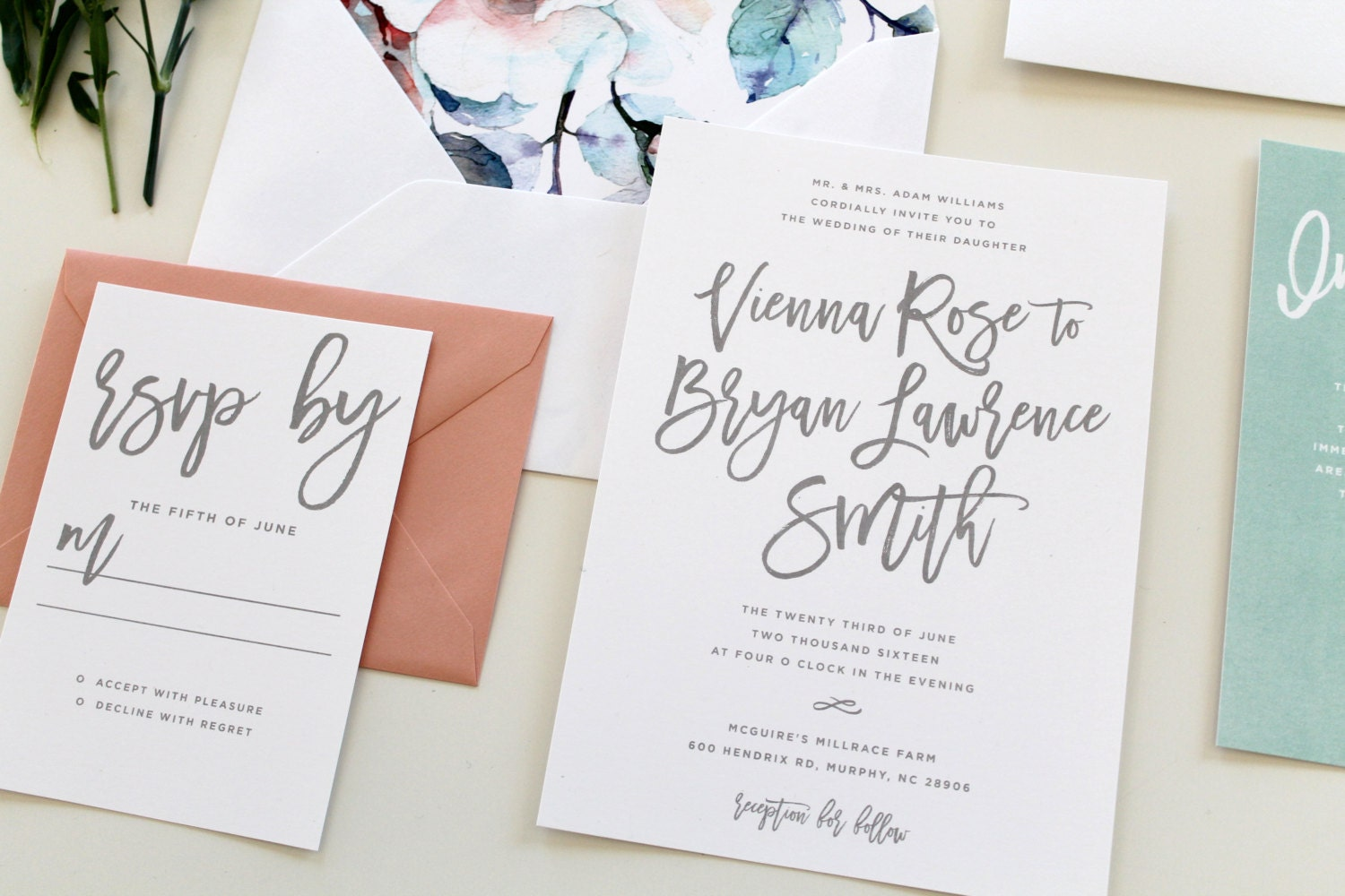 Cost Of Calligraphy For Wedding Invitations: Modern Calligraphy Wedding Invitation Calligraphy Wedding