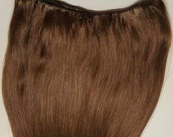 "20"" Weft Hair, 100grs,Weft Weaving (Without Clips),100% Human Hair Extensions #6 Medium Chestnut Brown"