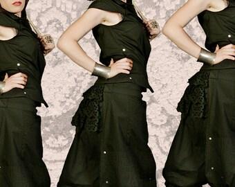 SALE!!! SteamPunk Pant/// Black Trousers//Black lace frill//Festival//Burlesque Kawaii Burning Man//Victorian Gothic///FULBER Black//MIMISAN