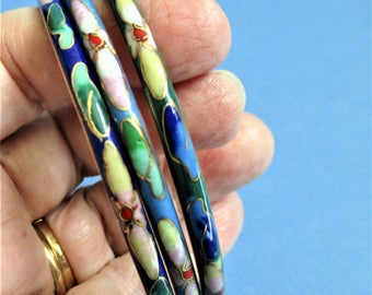 Cloisonne Bracelets 3 Set Bangles Vintage Blue Green Stacking Bracelets Gold Floral Cloisonne Enamel Jewelry Wedding Party Bridesmaid Gift