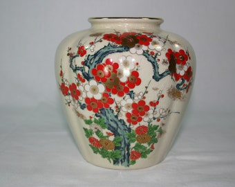 White Red Asian Oriental Floral Flower Vase