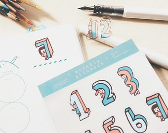 Monthly Stickers - Die Cut Tiny Stickers