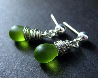 Silver Wire Wrapped Earrings, Green Frosted Teardrop Earrings, Silver Stud Earrings. Handmade Jewelry by Gilliauna