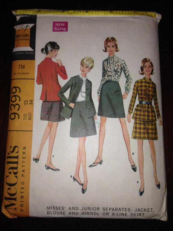 McCalls Sewing Pattern 9279 Misses and Junior Separates: Jacket, Blouse and Dirndl or A-line Skirt Size 12