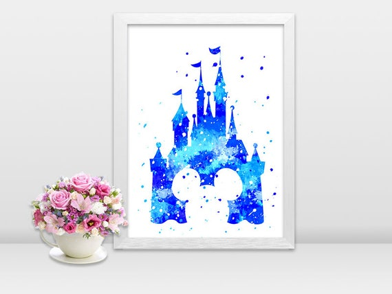Set aus 2 Aquarell Disney Schloss für Kinderzimmer Prinzessin