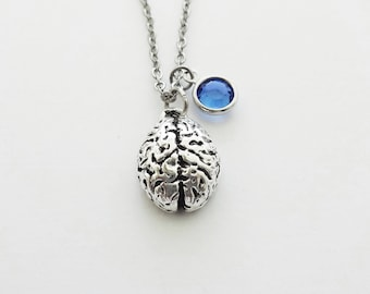 Brain Necklace, Pewter Charm, Neurologist, Neurology, Doctor, Medical Student Gift, Silver Jewelry, Swarovski Channel Birthstone Crystal