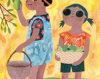 Summertime print, GICLÉE PRINT, Nursery decor, Animal art, Nursery wall art, Kids art, Nursery art, Nursery decor, Gouache painting.