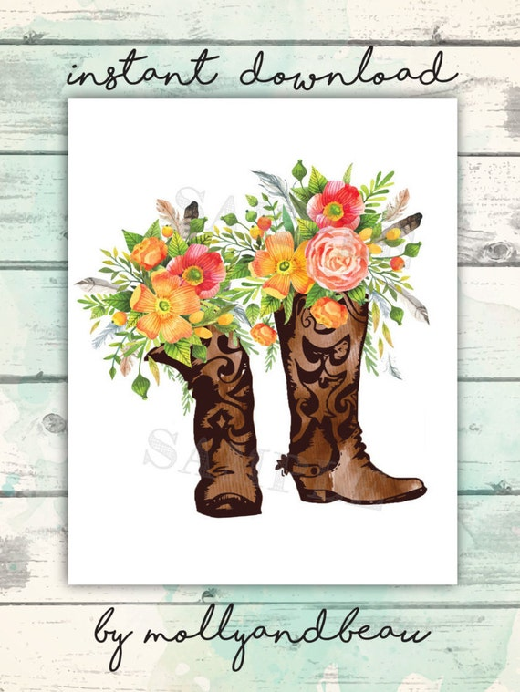 Cowboy Boots And Flowers Rustic Country Art Print Boot Gift For Girl Home Cowgirl Western