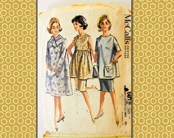 McCalls  60's Maternity dress/ tops pattern 6576 from 1962 size 14 B34 H36 short sleeve or long sleeve