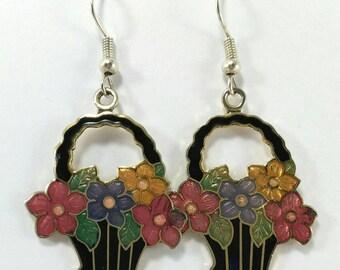 Dangle enamel earrings, flower pattern earrings, basket earrings, vintage 80s