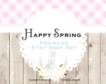 Happy Spring Premade EASTER/SPRING  Etsy banner set