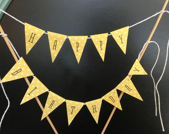 Happy Birthday Cake Topper | Flags | Happy Birthday Cake Banner | Polka Dots | Happy Birthday Cake Bunting | Cake Decorations | Shabby Chic