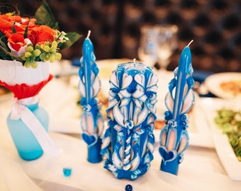 Unity Candle set-wedding candles carved blue wedding-blue carved candles-Unity Candle