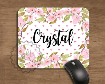 Personalized Name Mouse Pad - Office Desk Accessories, Romantic Floral Pink Blooms, Round Mouse Pad, Gift For Her, Coworker Gift, Mousepad