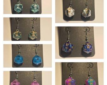 Mini D20 Dice Earrings / Swirl - Glow In The Dark - Glitter / 10mm / Stainless Steel Hangers / Silicone Earnest