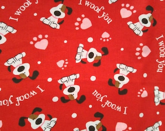 """32"""" Puppy I Woof You Fabric, Fabric Remnant, Cotton Fabric, Valentine Fabric"""
