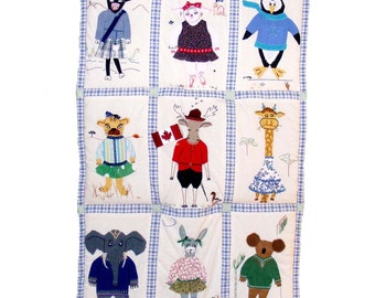 Animals of the World in Fancy Dress- Custom Baby Quilt- Personalized Baby Gift - Nursery Bedding