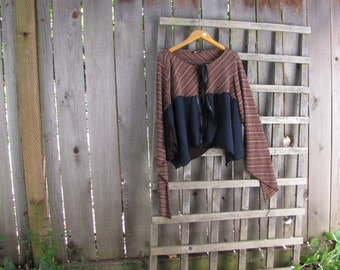 Striped Brown Upcycled Stretch Knit Cardigan/Eco Tattered Asymmetrical Shabby Chic Shrug Cover Up
