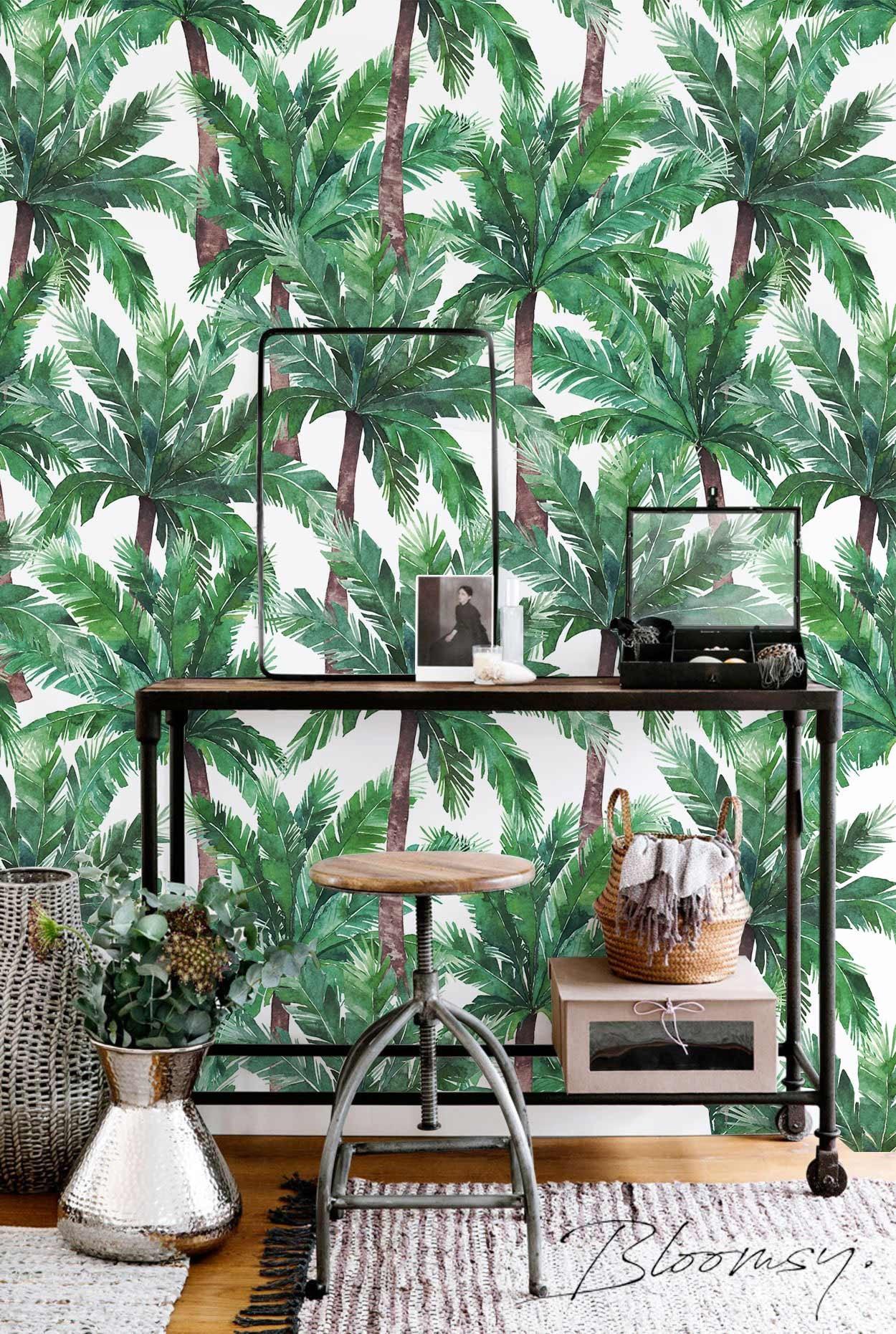Abnehmbare Tapete Palm Tree Schälen und Aufkleben
