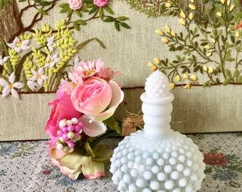 Vintage Perfume Bottle Opalescent Hobnail Milk Glass Vase Perfume Bottle Vanity Decor Dresser Cologne Bottle Hobnail Vase Opalescent Glass