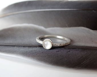 Mother of Pearl Stacking Ring - June Birthstone ring - Birthstone ring