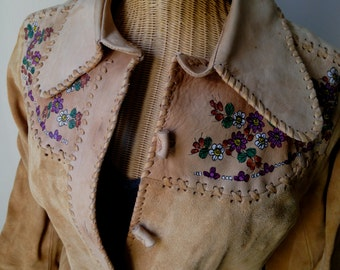Vintage CHAR whipstitch leather/suede painted western jacket