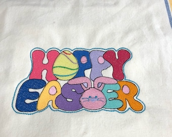 NEW Tea Towel embroidered with HOPPY EASTER