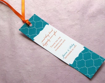 Bookmark Favor - Monogram Indian Lattice - Modern and Unique