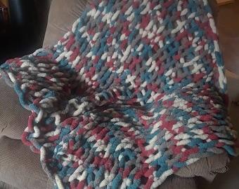 Chunky, Hand knit, chenille yarn throw blanket