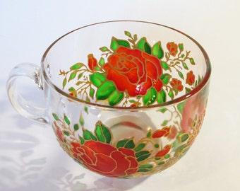 Roses Mug Big Mug Floral Mug Red Roses Tea Mug Custom Mug Glass Coffee Mug Painted Glass Mug Large Coffee Mug Hand Painted Mug Painted Glass