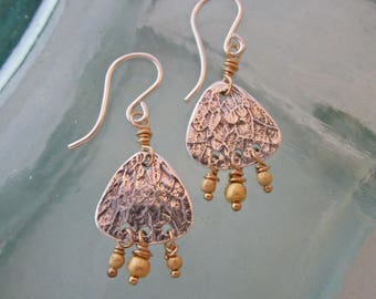 Handcrafted Mixed Metal Leaf Pattern Earrings, Silver and Gold
