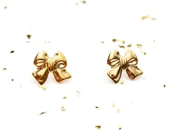 Gold Bow Studs, Bow Studs