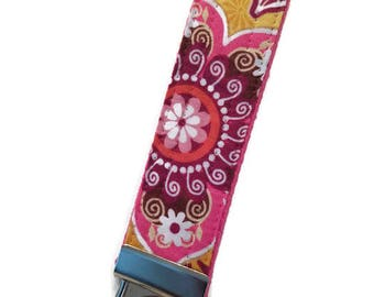 Pink and Yellow Bali Print Key Fob