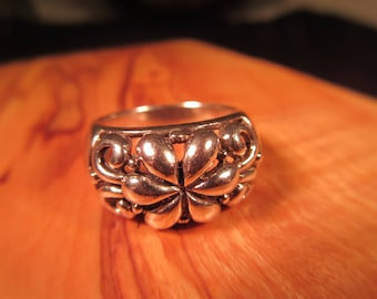 Retro Sterling Silver Ring - 8