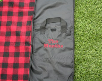PERSONALIZED Polar Fleece and Polyester Picnic or Outdoor Blanket; Folds up for easy carry with nylon handle