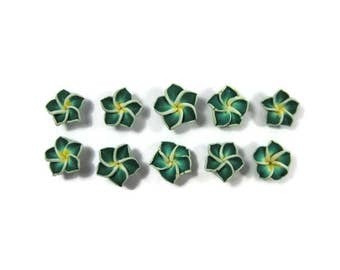 12 mm Polymer Clay Plumeria Flowers Set of 10 (MP16)