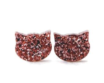Pink Glitter Cat Stud Earrings - Cat Earrings - Cat Lover Gift - Cat Studs - Cat Post Earrings - Acrylic Cat Earrings - Luckeeluv