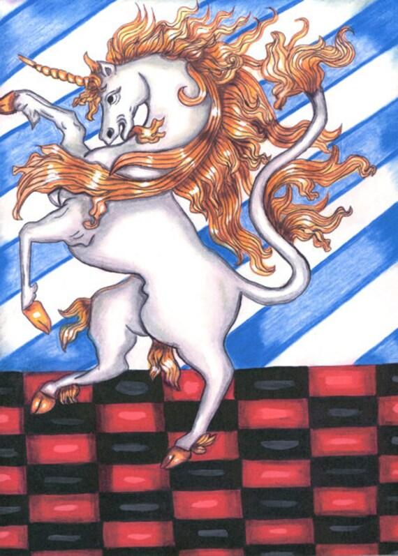 white unicorn horse original art print fairytale folk art original ink drawing artwork fantasy modern illustrations