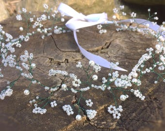 wedding crown,babys breath, hair vine,bridesmaids crown, Bohemian,flowergirl crown, bridal halo, woodland wedding, faerie wedding, crown