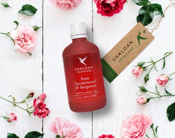 Rose Body Oil | Rose, Sandalwood & Bergamot | Rose Bath Oil | Rose Massage Oil | Aromatherapy Bath Oil | Vegan Bath Oil