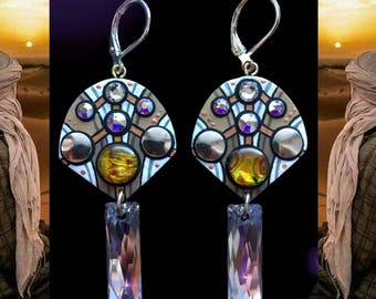 Swarovski Crystal and shell earrings