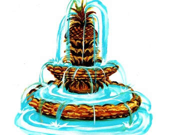 Pineapple Fountain Charleston Print of  Gouache Illustration