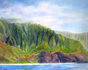 Kalalau Beach Na Pali Kauai Painting Print