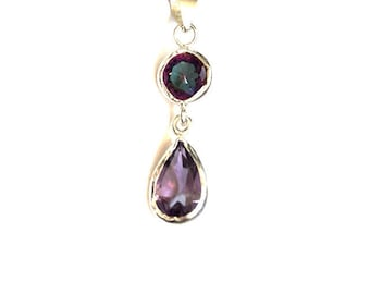 Alexandrite and Amethyst Drop Pendant Necklace, made with sterling silver, Alexandrite necklace, Alexandrite pendant, amethyst pendant,