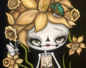 skeleton daffodil sugar skull butterfly Wall Art ---spring flower original painting  6 x 12