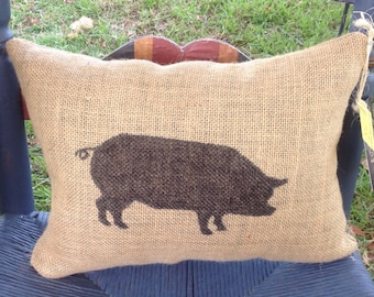 Burlap Pillow, Pig Pillow, Rustic Decor, Home Decor, Decorative Pillow, Farm, Gift, Birthday, Christmas, Father's Day, Mother's Day, Cute