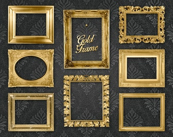 "Gold Picture Frame Clip Art Clipart: ""Gold Frames"" digital gold frames, ornate picture frames for scrapbooking, collages"