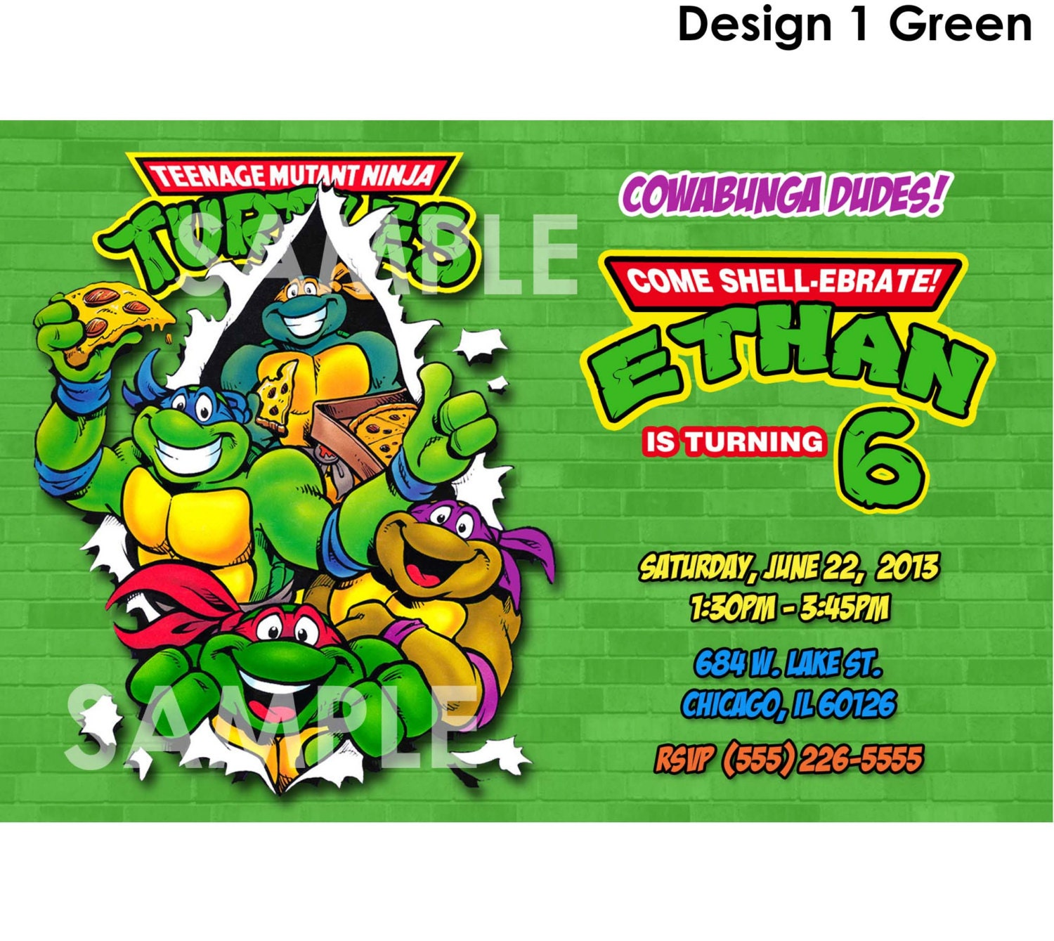 image relating to Ninja Turtles Invitations Printable identified as Ninja Turtle Birthday Invitation