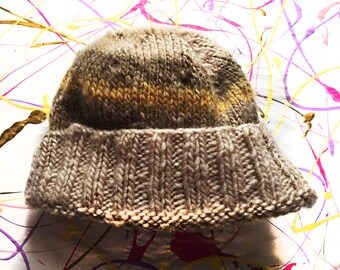 Brown and Green Winter Wool Hat