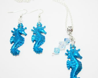 Seahorse Necklace and Earring Set, Hand Painted Charms, Beachy Vacation Set, Aqua Blue Seahorses, Swarovski Bicone Elements